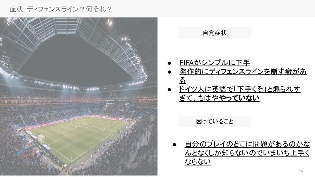 16 症状:ディフェンスライン?何それ?  ● FIFAがシンプルに下手 ● 発作的にディフ...