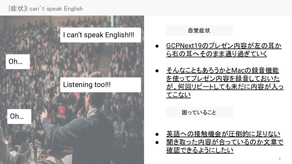 6 [症状]I can't speak English 