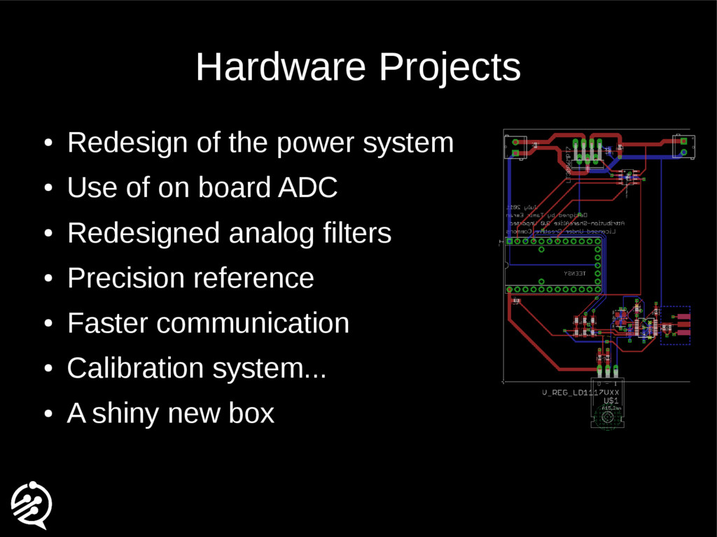 Hardware Projects ● Redesign of the power syste...