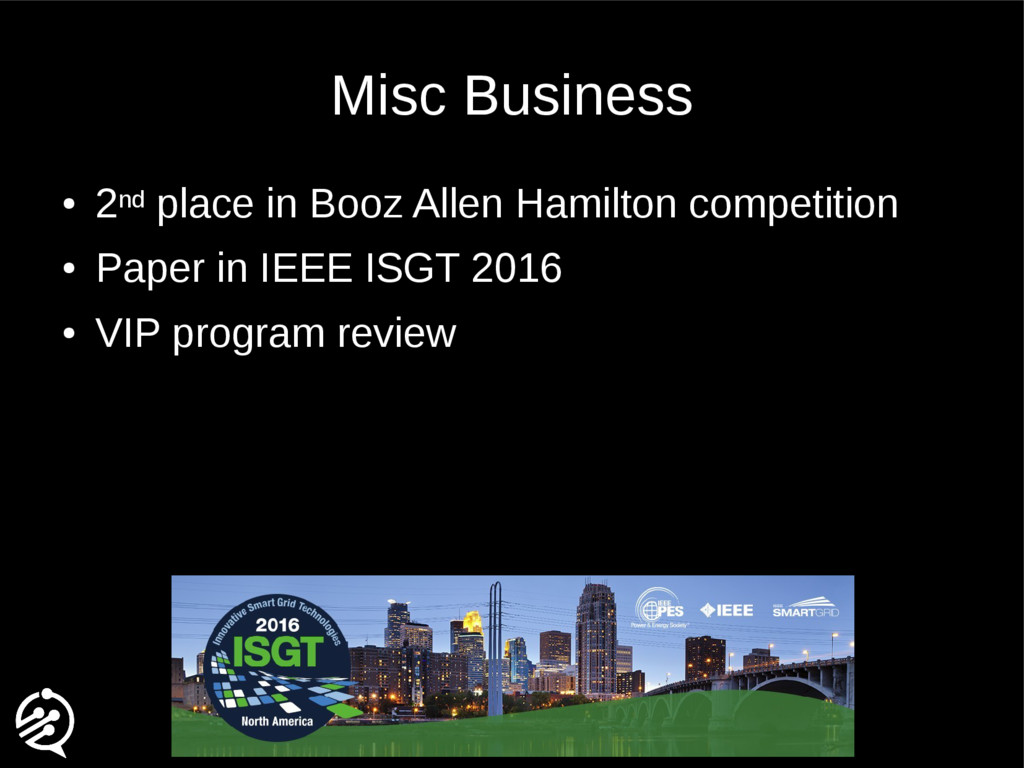 Misc Business ● 2nd place in Booz Allen Hamilto...