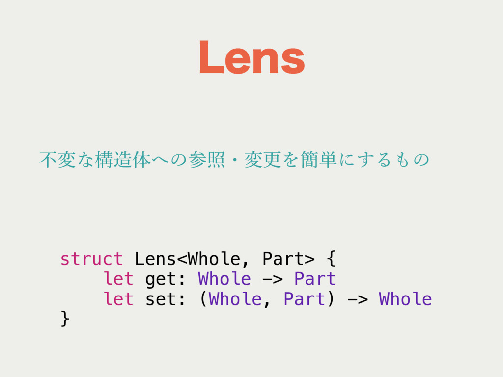 -FOT struct Lens<Whole, Part> { let get: Whole ...