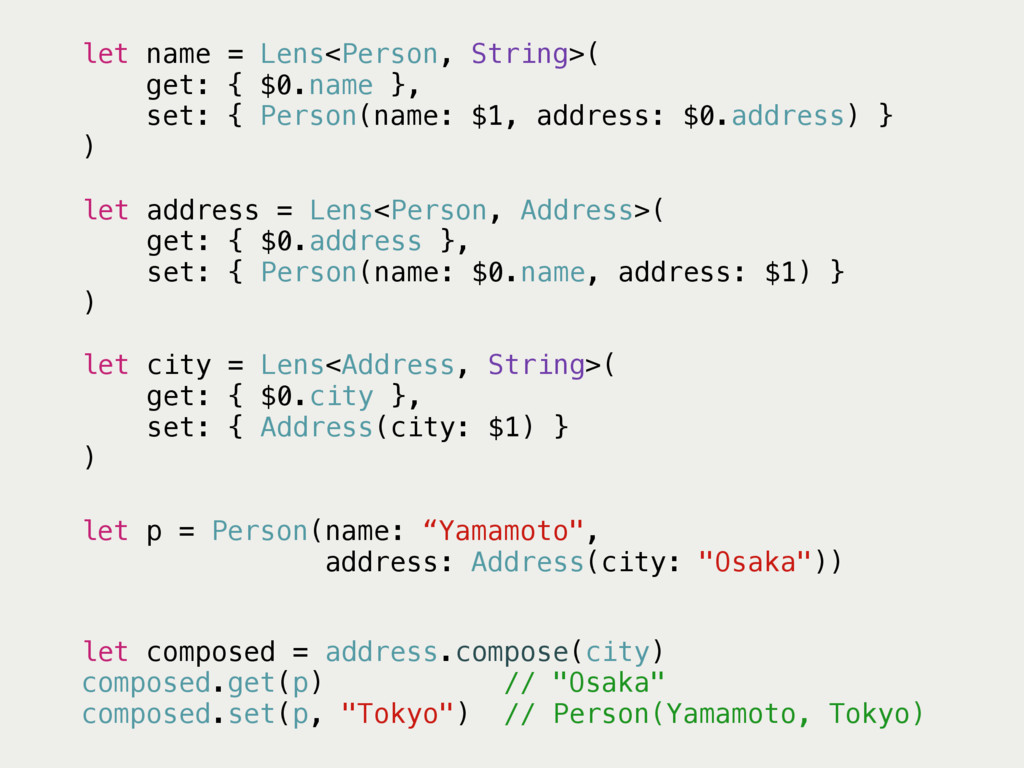 "let p = Person(name: ""Yamamoto"", address: Addre..."