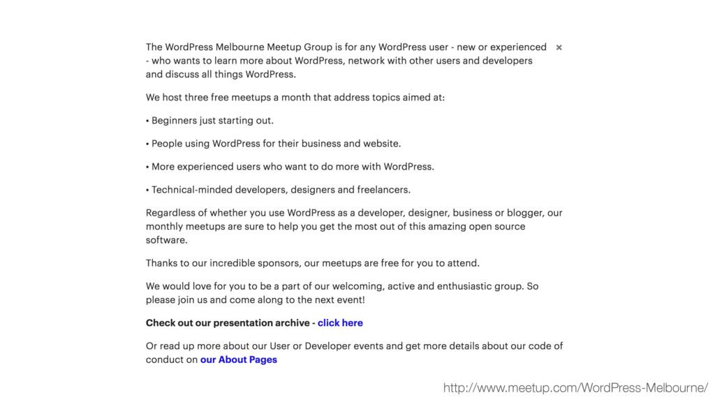http://www.meetup.com/WordPress-Melbourne/