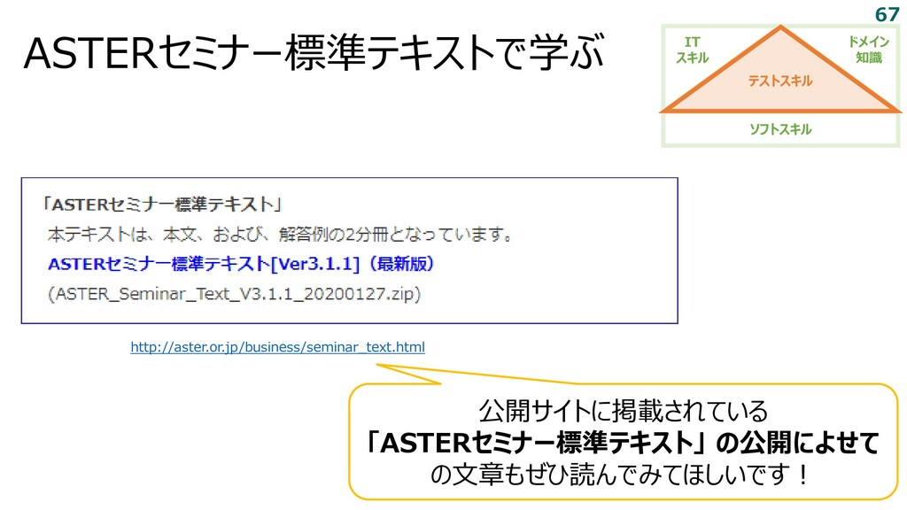 ASTERセミナー標準テキストで学ぶ http://aster.or.jp/business/...