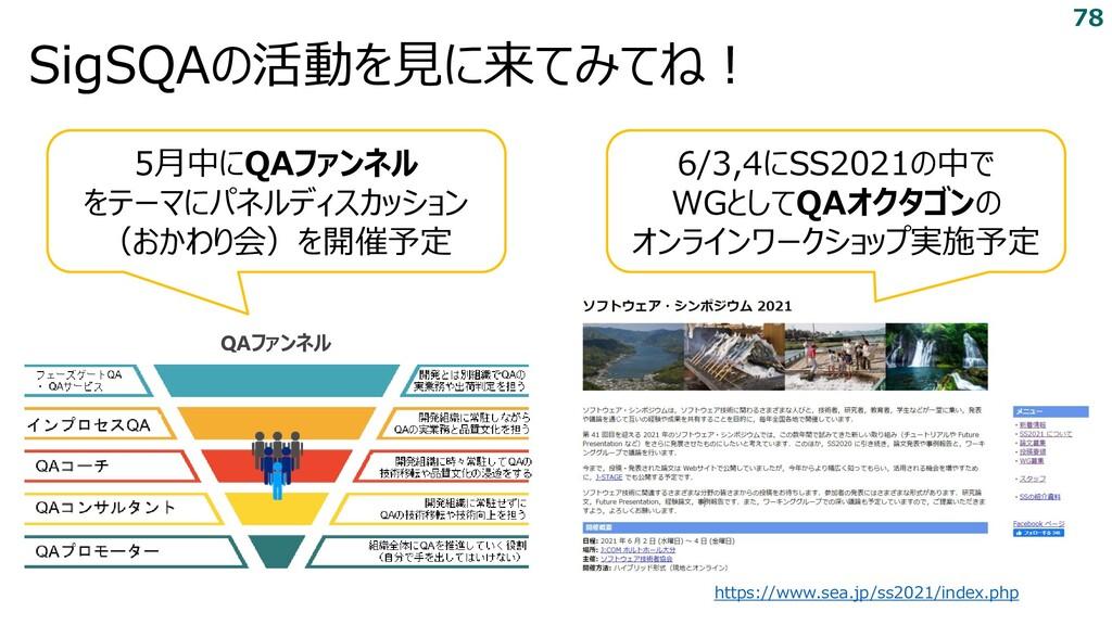 SigSQAの活動を見に来てみてね! https://www.sea.jp/ss2021/in...