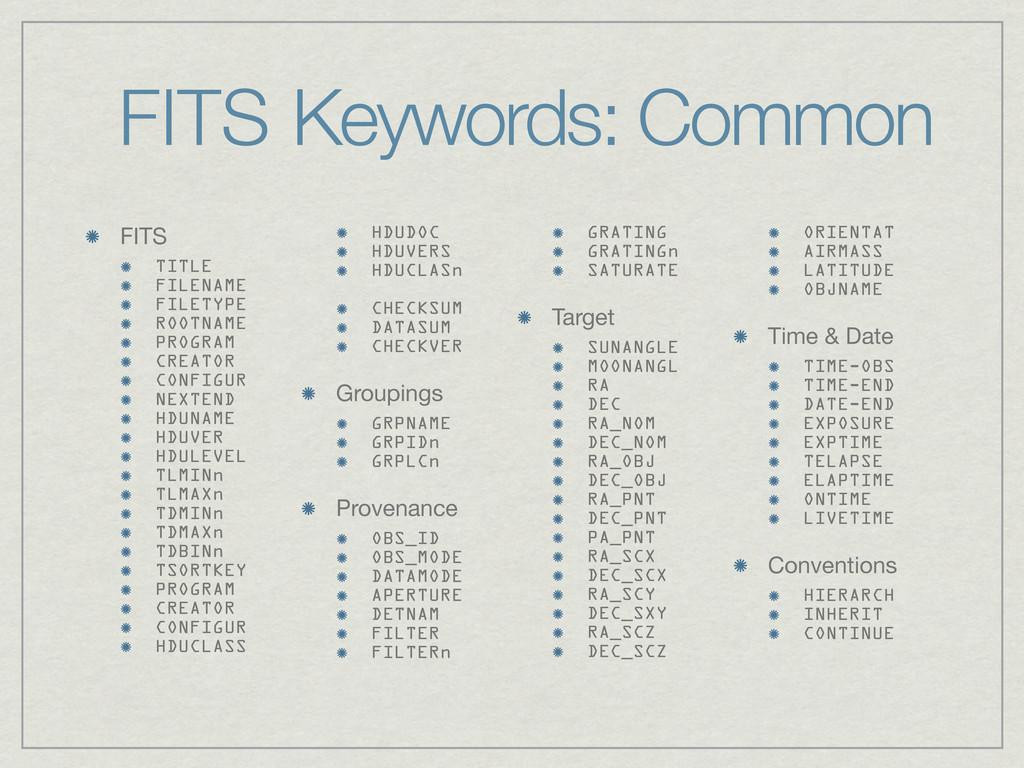 FITS Keywords: Common FITS TITLE FILENAME FILET...