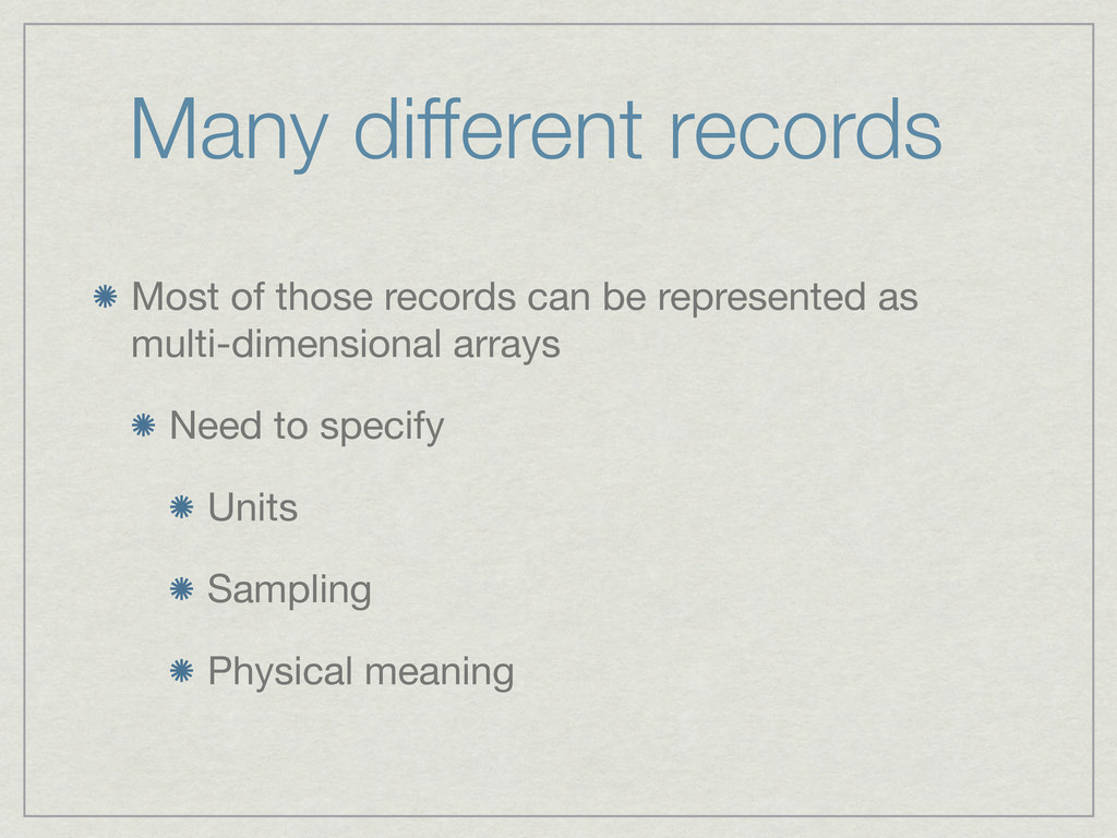 Many different records Most of those records ca...