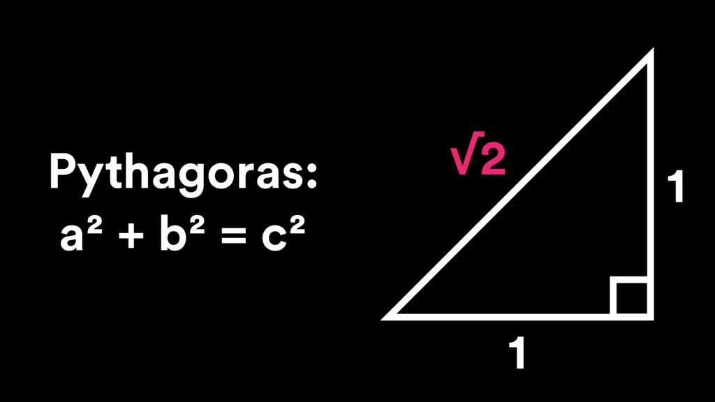 1 1 √2 Pythagoras: a² + b² = c²