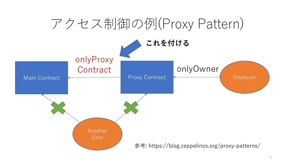 アクセス制御の例(Proxy Pattern) 7 Main Contract Proxy C...
