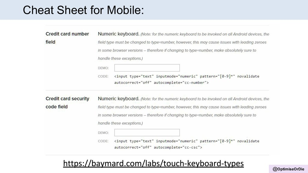 @OptimiseOrDie Cheat Sheet for Mobile: