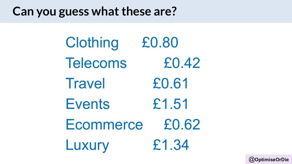 @OptimiseOrDie Clothing £0.80 Telecoms £0.42 Tr...
