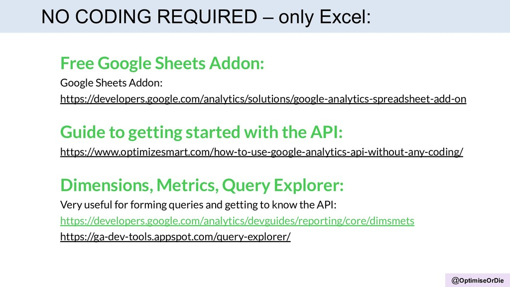 @OptimiseOrDie NO CODING REQUIRED – only Excel:...