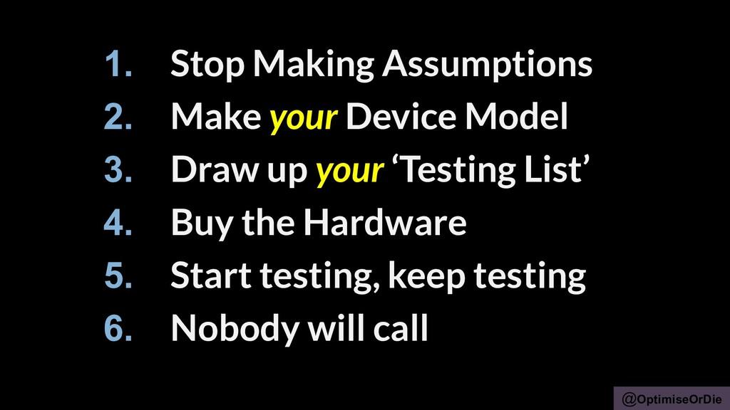 @OptimiseOrDie 1. Stop Making Assumptions 2. Ma...