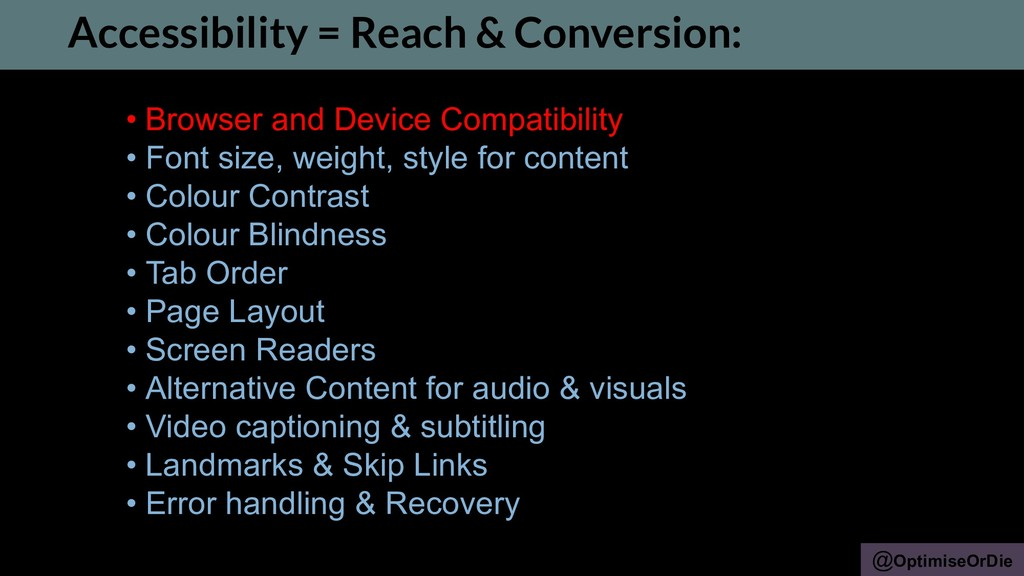 @OptimiseOrDie • Browser and Device Compatibili...