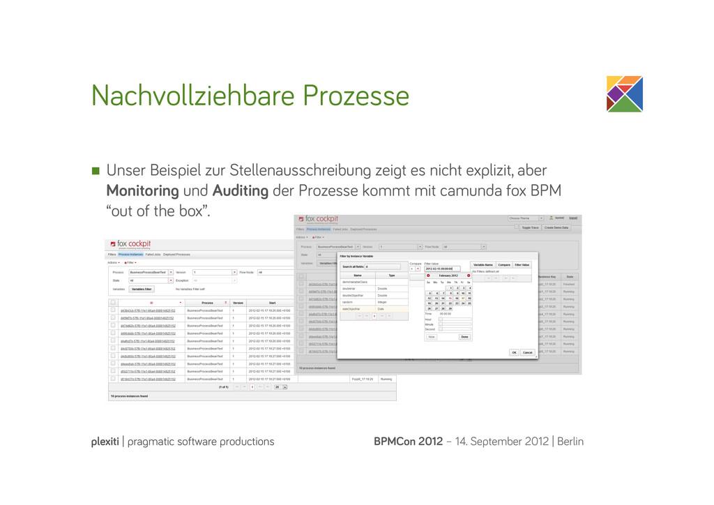 Nachvollziehbare Prozesse BPMCon 2012 – 14. Sep...