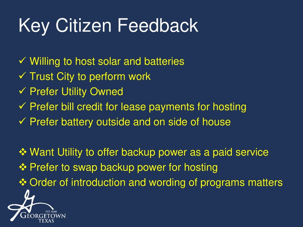 Key Citizen Feedback  Willing to host solar an...
