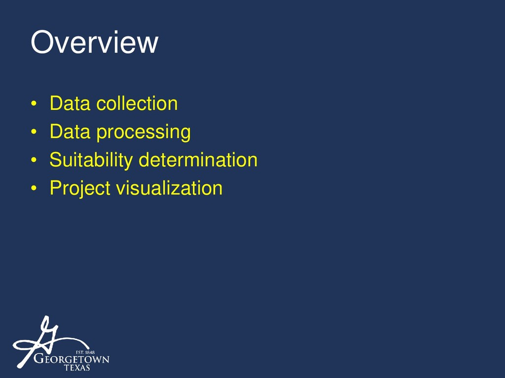 Overview • Data collection • Data processing • ...
