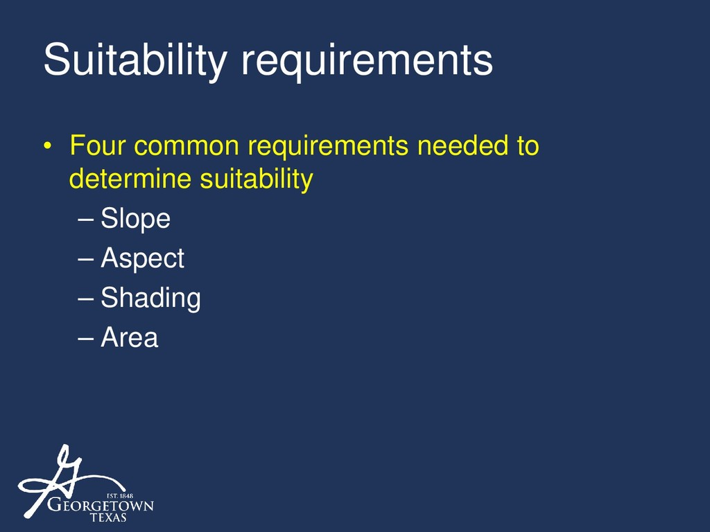 Suitability requirements • Four common requirem...