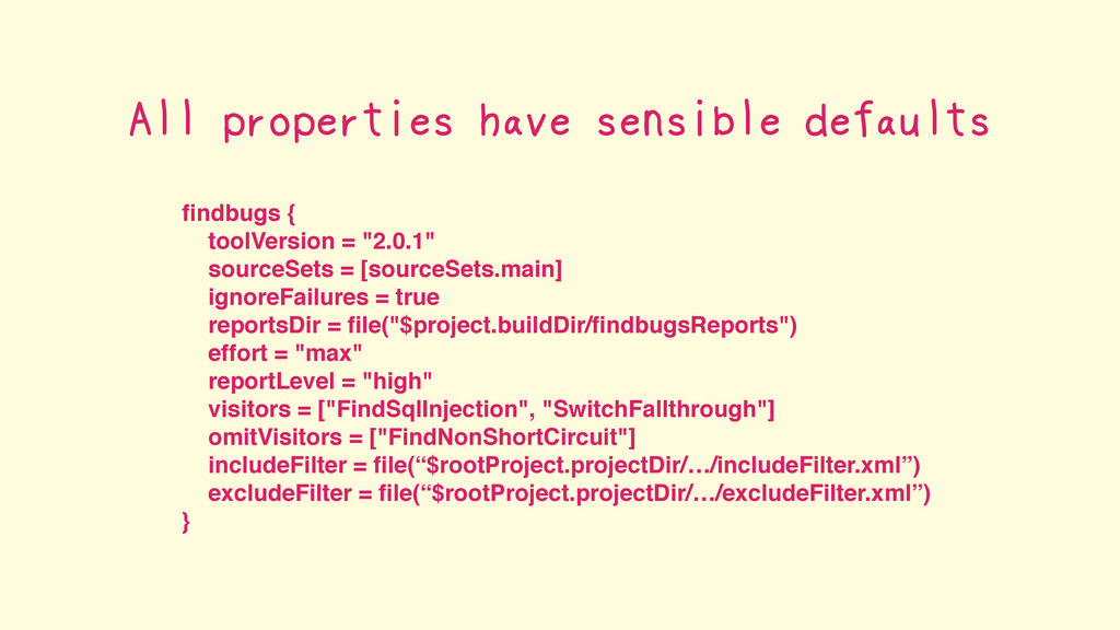 """findbugs { toolVersion = """"2.0.1"""" sourceSets = [s..."""