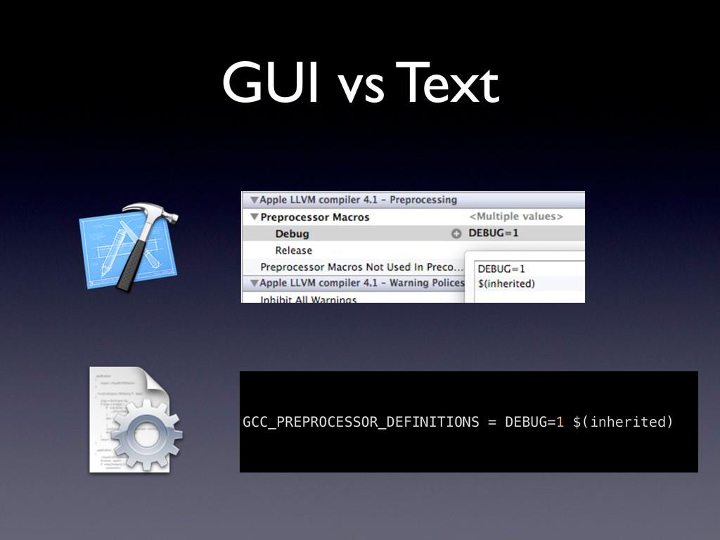 GUI vs Text GCC_PREPROCESSOR_DEFINITIONS = DEBU...
