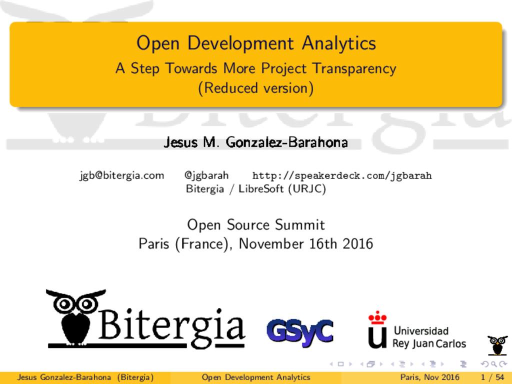 Open Development Analytics A Step Towards More ...