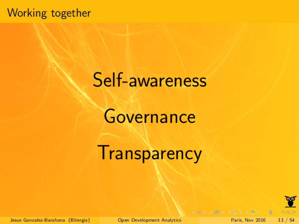 Working together Self-awareness Governance Tran...