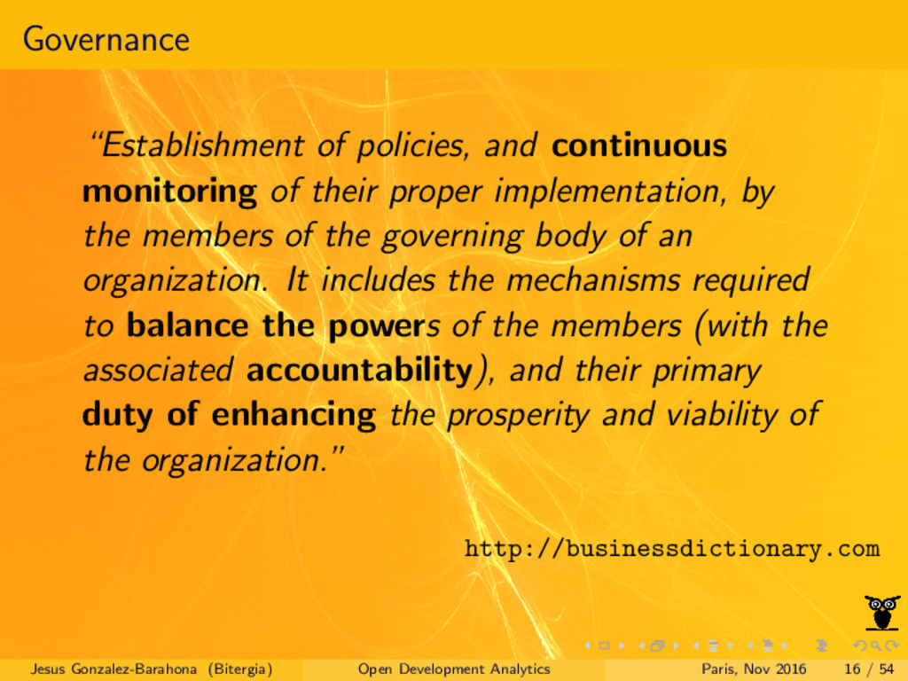 """Governance """"Establishment of policies, and cont..."""