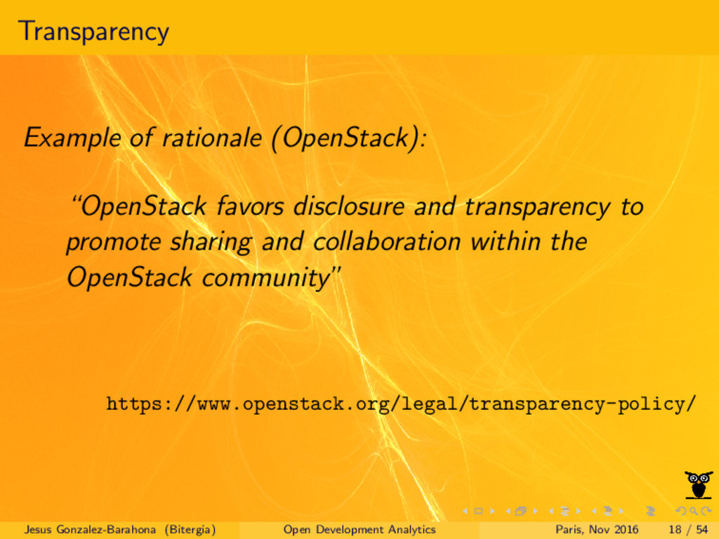 Transparency Example of rationale (OpenStack): ...