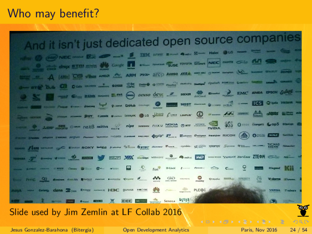 Who may benefit? Slide used by Jim Zemlin at LF ...