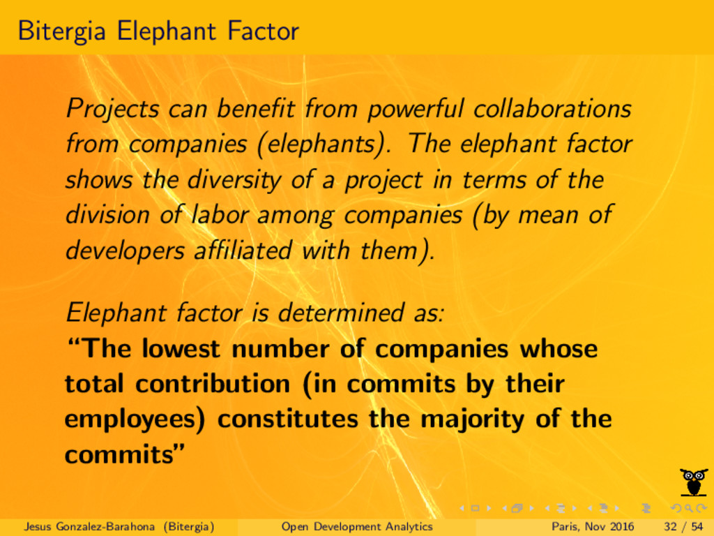 Bitergia Elephant Factor Projects can benefit fr...