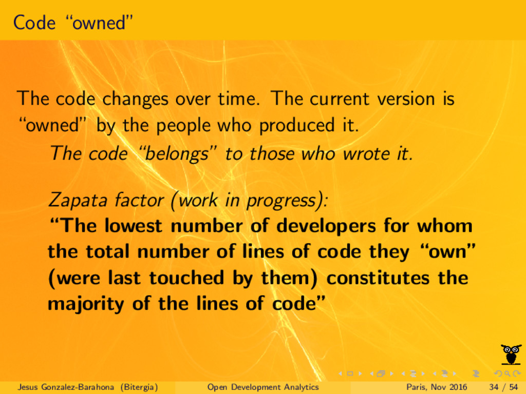 """Code """"owned"""" The code changes over time. The cu..."""