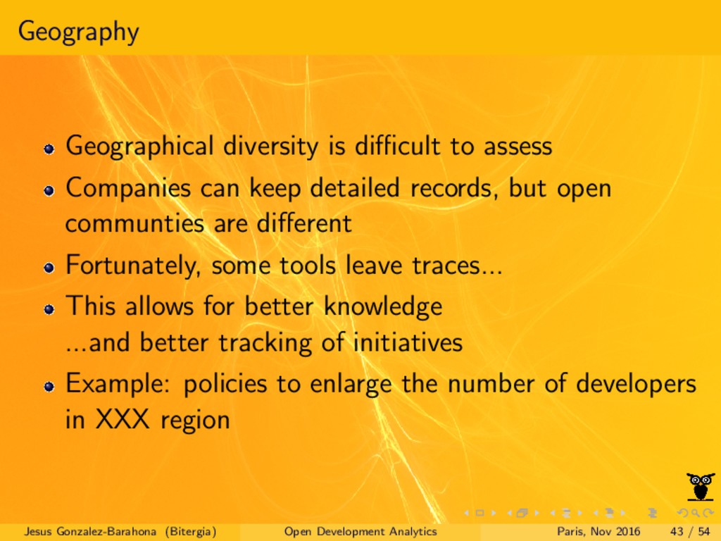 Geography Geographical diversity is difficult to ...