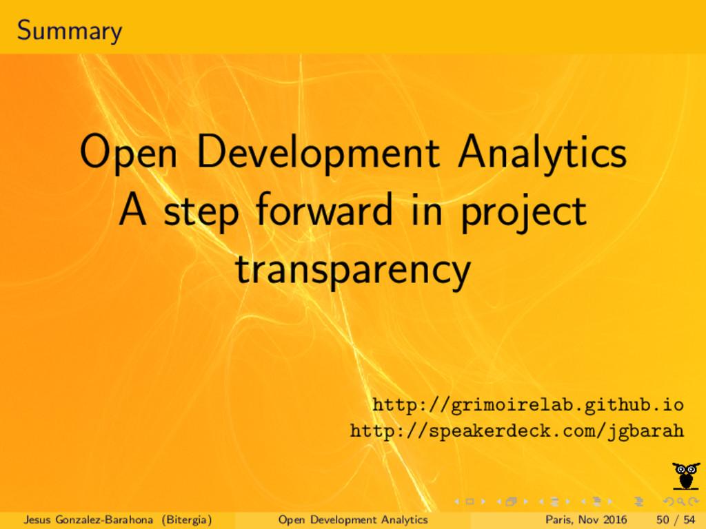 Summary Open Development Analytics A step forwa...