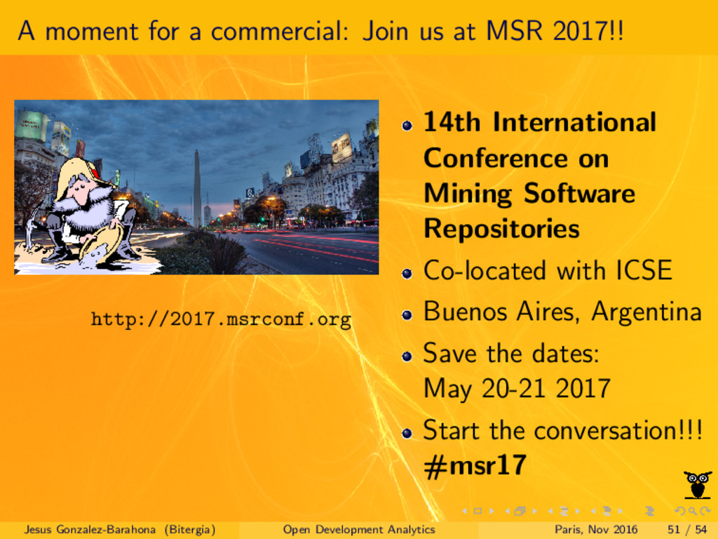 A moment for a commercial: Join us at MSR 2017!...
