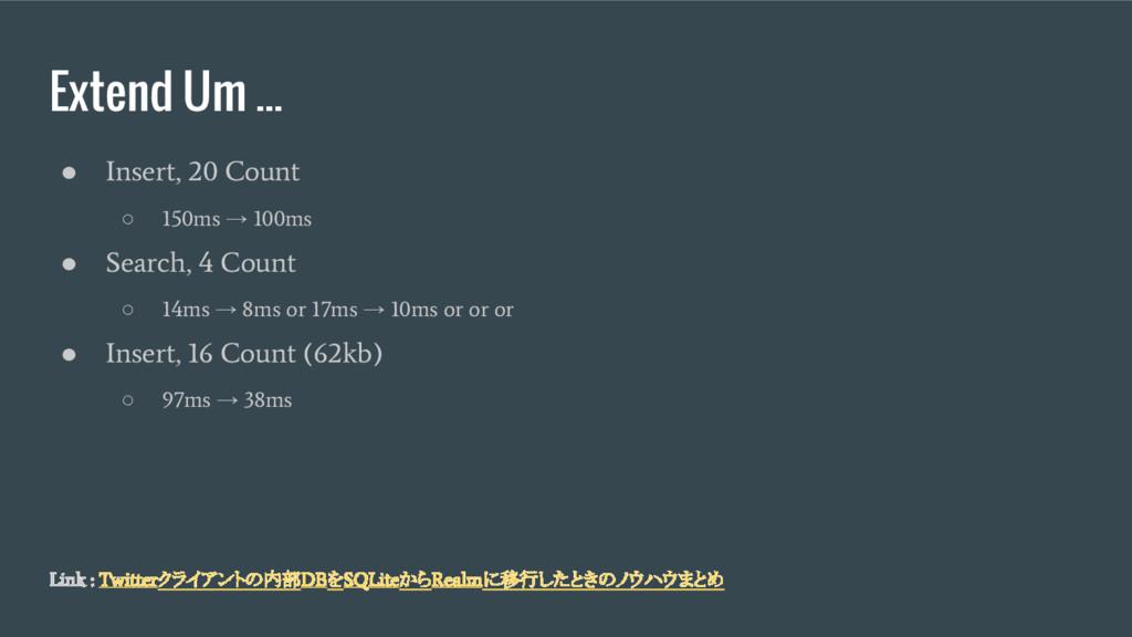 Extend Um ... ● Insert, 20 Count ○ 150ms → 100m...