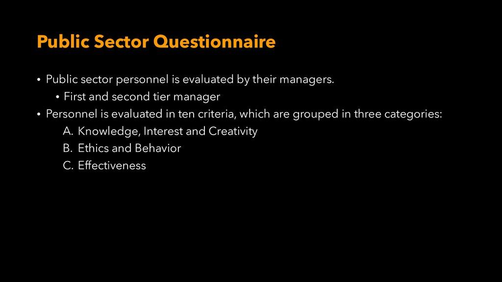 Public Sector Questionnaire • Public sector per...