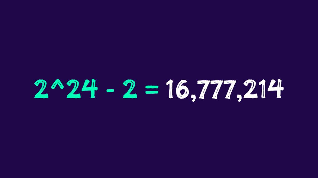 2^24 - 2 = 16,777,214