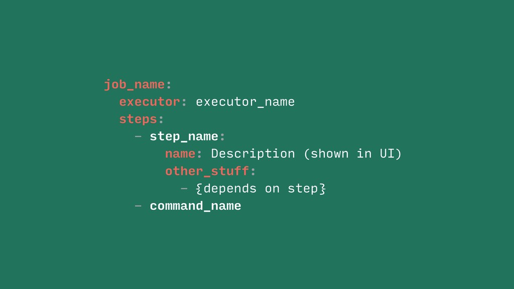 job_name: executor: executor_name steps: - step...
