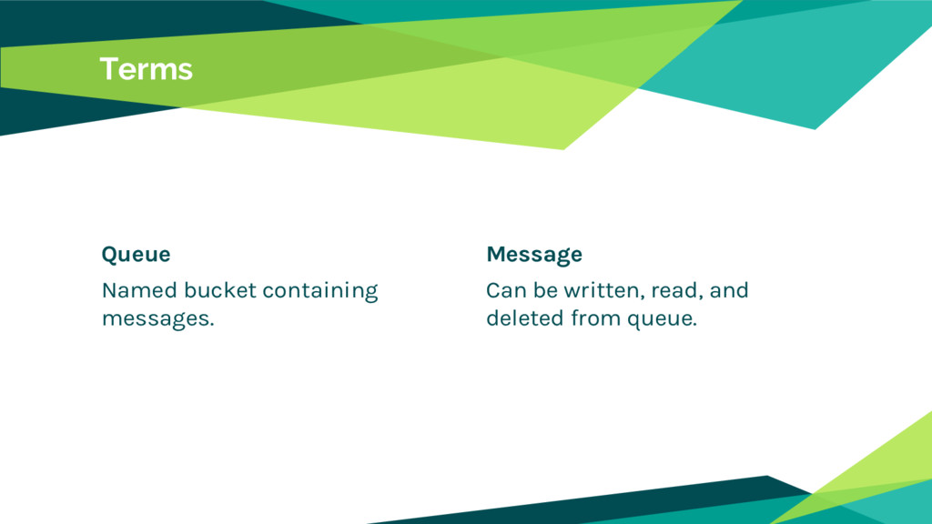 Queue Named bucket containing messages. Terms M...