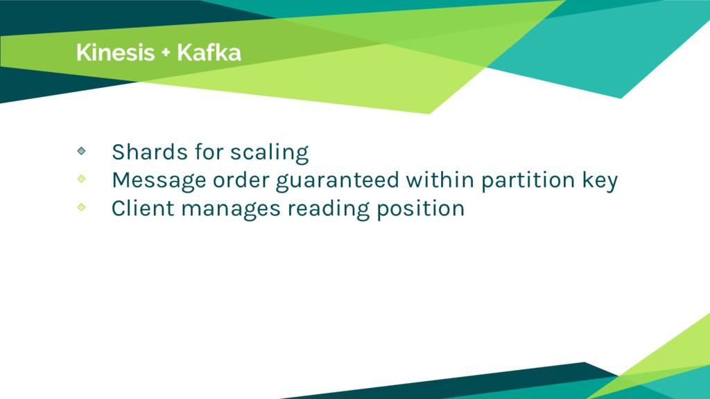 Kinesis + Kafka Shards for scaling Message orde...