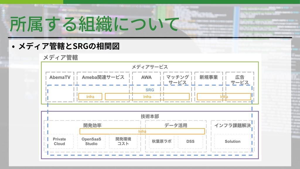 所属する組織について • メディア管轄とSRGの相関図