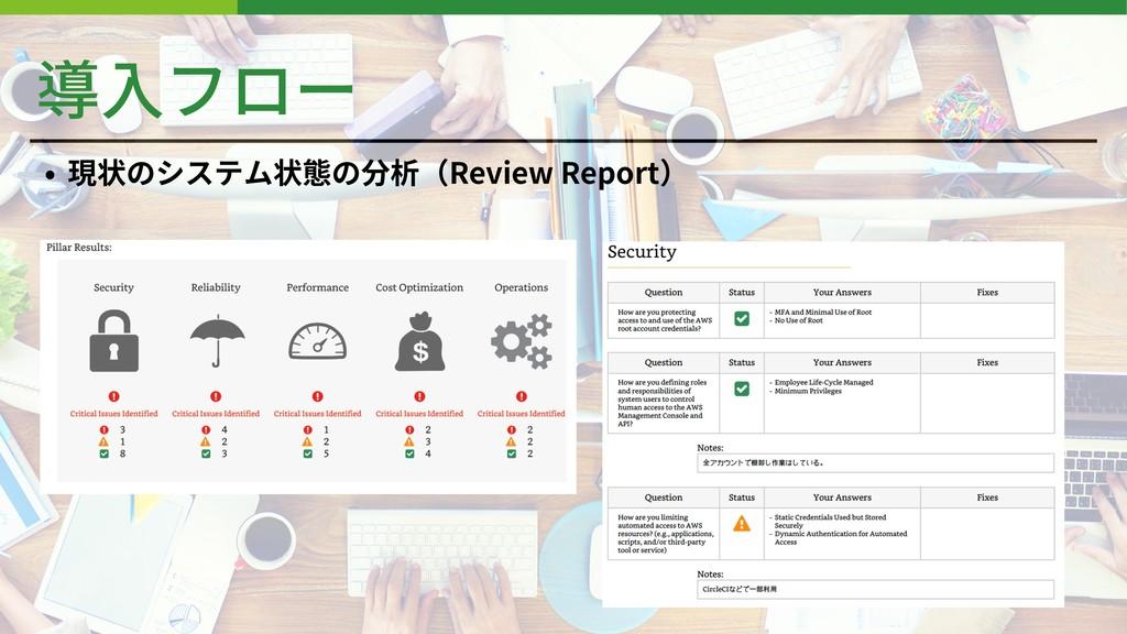 導⼊フロー • 現状のシステム状態の分析(Review Report)