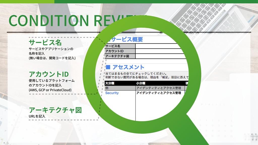 CONDITION REVIEW サービス名 サービスやアプリケーションの 名称を記⼊ (無い...