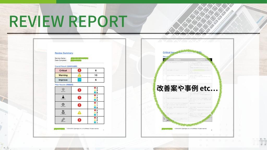 REVIEW REPORT 改善案や事例 etc
