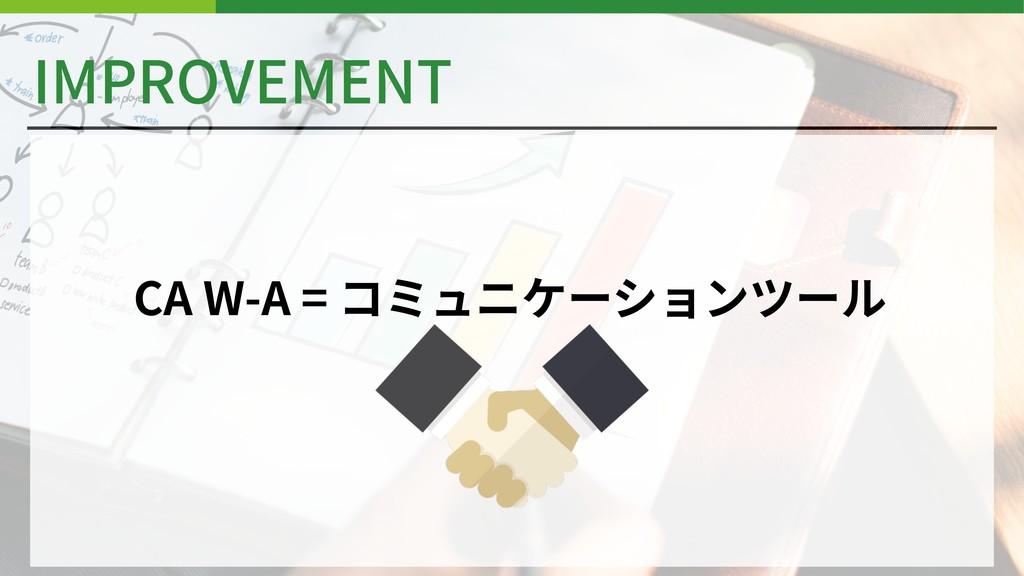 IMPROVEMENT CA W-A = コミュニケーションツール