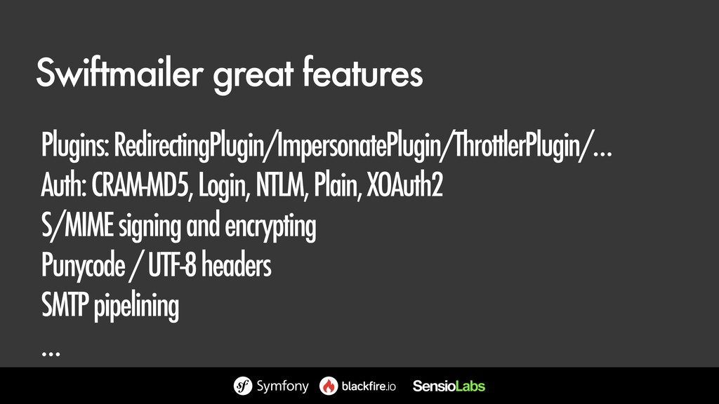 Swiftmailer great features Plugins: Redirecting...