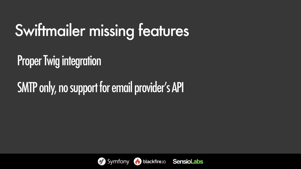 Swiftmailer missing features Proper Twig integr...