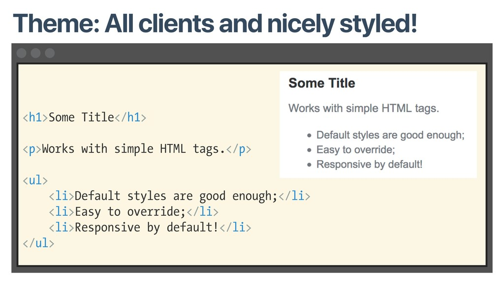<h1>Some Title</h1> <p>Works with simple HTML t...