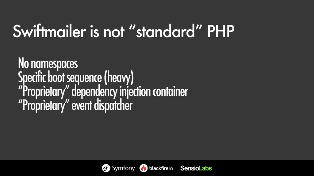 "Swiftmailer is not ""standard"" PHP No namespaces..."