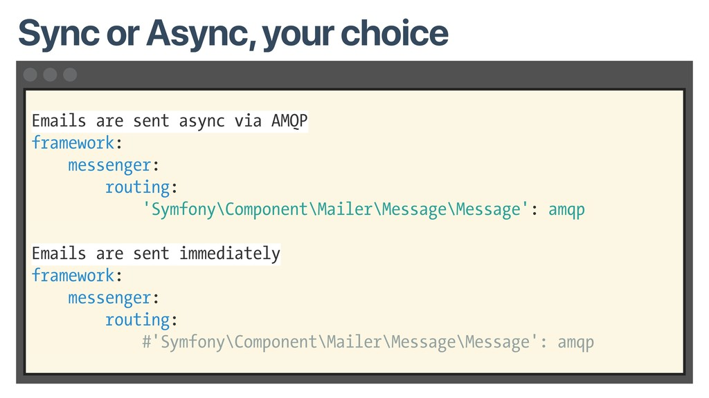 Emails are sent async via AMQP framework: messe...